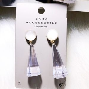 Zara Transparent Acrylic Hex Cone clip-on Earrings